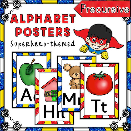 Superhero Themed Alphabet Posters Frieze