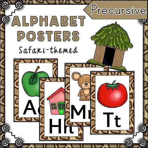 Safari Themed Alphabet Posters Frieze