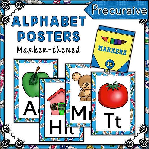 Marker Pen Themed Alphabet Posters Frieze