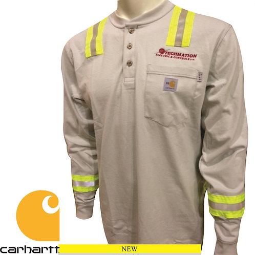 100237 - FR Carhartt Force Cotton Long-Sleeve Henley w/ Striping & LF Logo