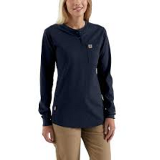 102686 - Women's FR Force Cotton Long-Sleeve Henley w/ L Sleeve Globe