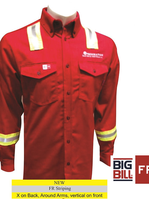 147BDUS7 - Button Up Long Sleeve Work Shirt w/ Striping & LF Logo