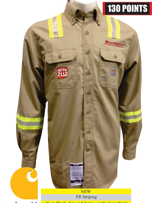 FRS160 - Flame-Resistant Twill Shirt w/ Pocket Flap, Striping & LF Logo