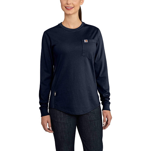 102685 - Women's FR Force Cotton LS Crewneck T-Shirt w/ L Shoulder Globe