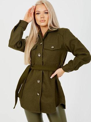 Chayla Khaki Belted Coat
