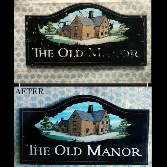 Restoration of original house sign.   In private posession