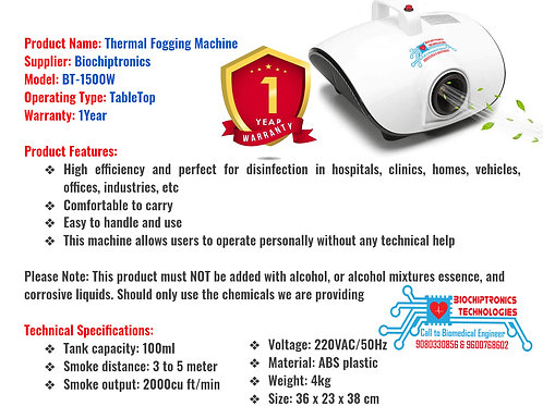 Thermal fogging machine with 6ltr solution