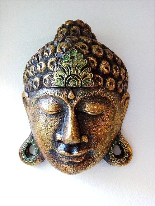 Håndskåret Buddha maske