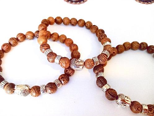 Buddha armbånd i naturtræ & antik sølv