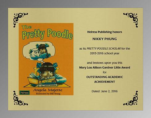 2016 Pretty Poodle Scholar plaque