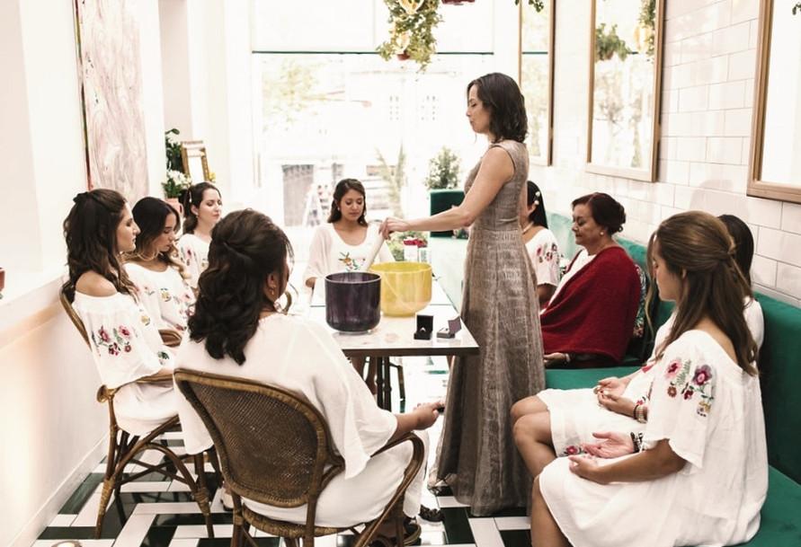 Bride blessing with bridesmaids in Ecuador
