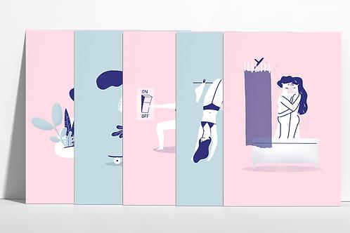 Celá séria 5x originálnych printov NE/UDRŽATEĽNÍ (5 ks)