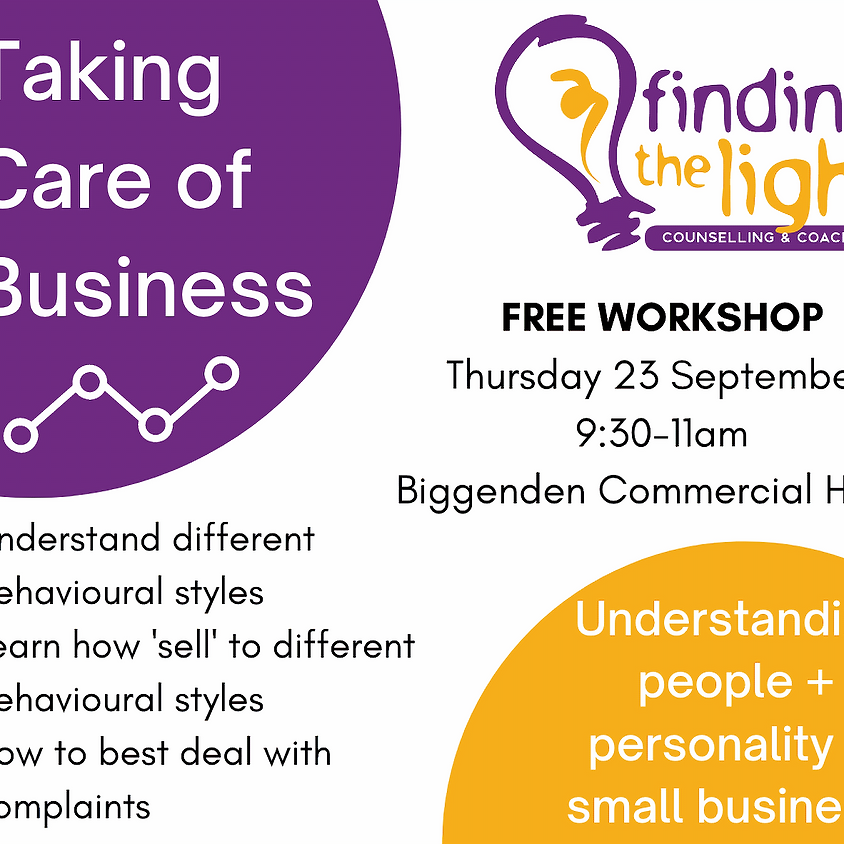 Taking Care of Business Workshop - Understanding People & Personality in Small Business