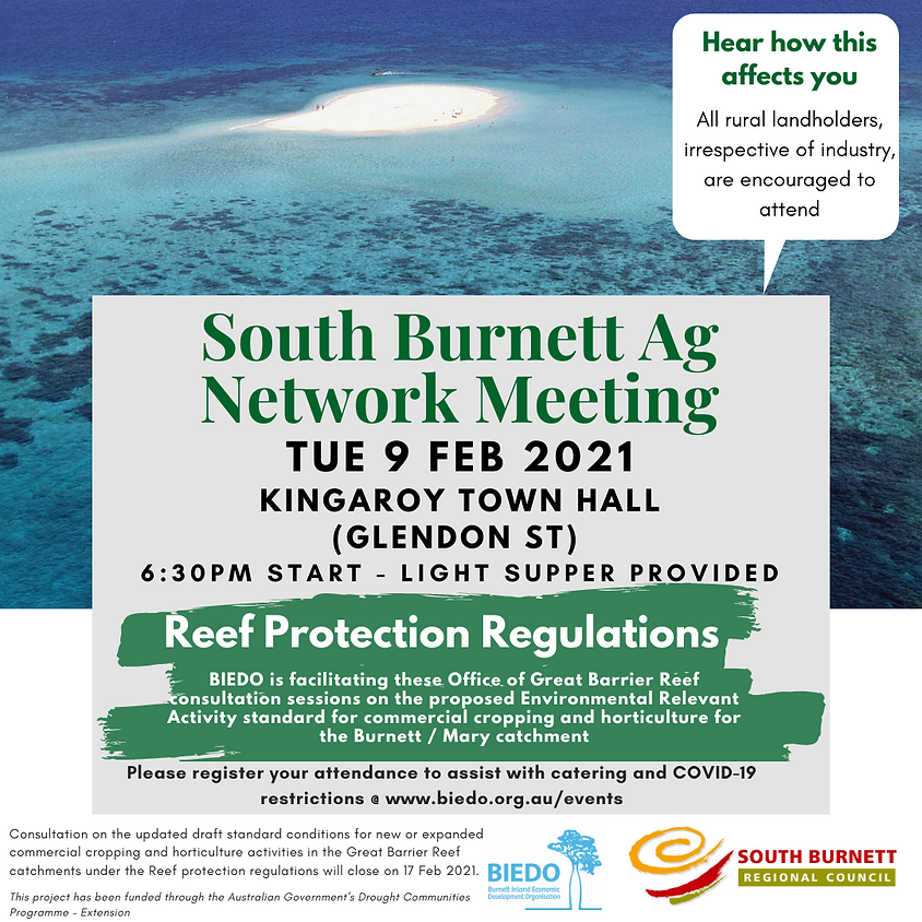 SOLD OUT South Burnett Ag Network Meeting: Reef Protection Regulations