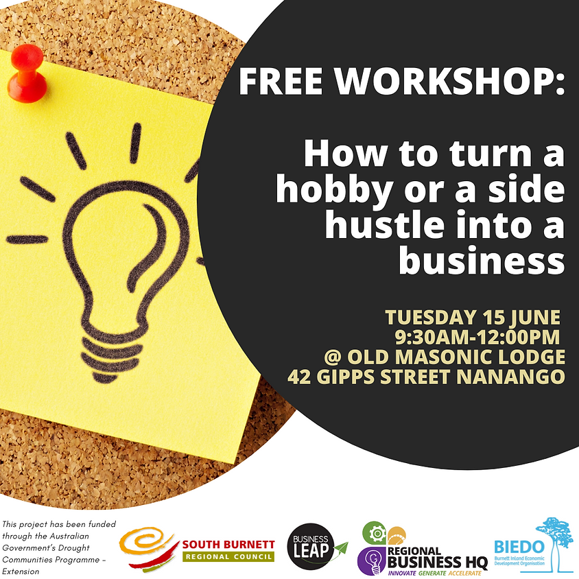 How to turn a hobby or a side hustle into a business: Taking Care of Business Workshop
