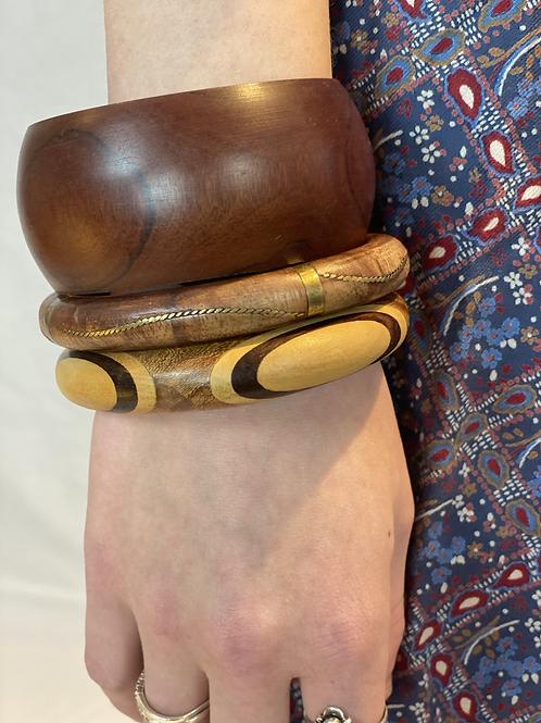 Set houten armbanden