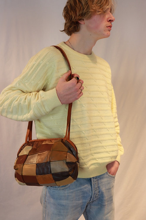 70s leather patchwork bag