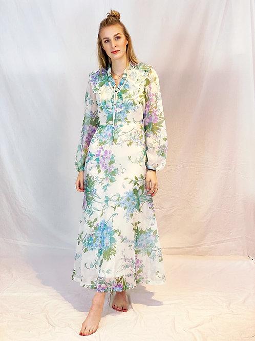 70s flowy flower dress