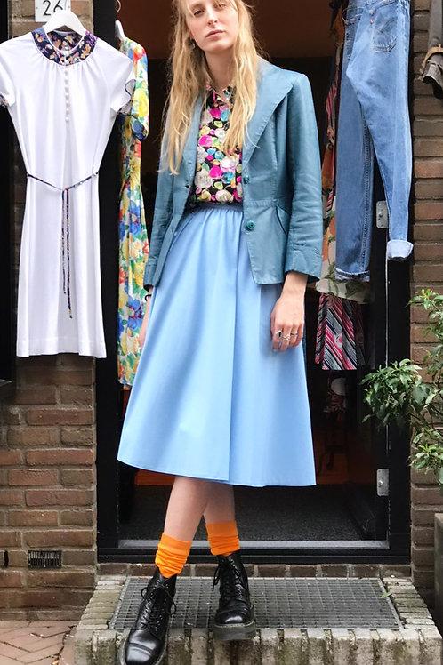 Babyblauwe vintage rok