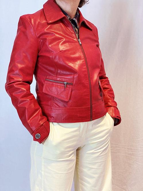 Rood leren jasje