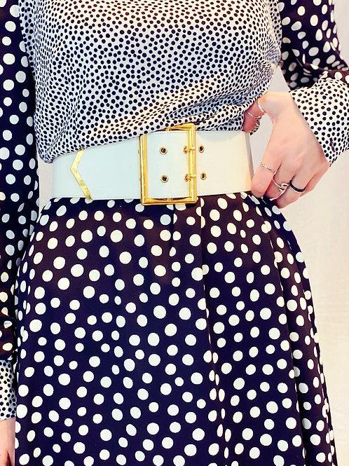 Large White leather belt