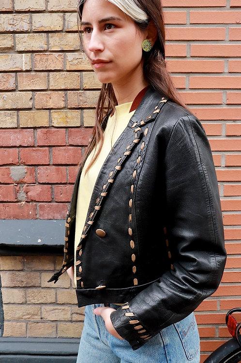 Vintage leren cropped jacket