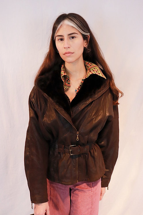 Vintage cropped leather jacket