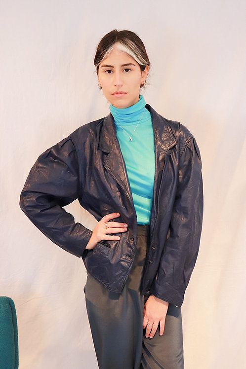 90s blue leather jacket