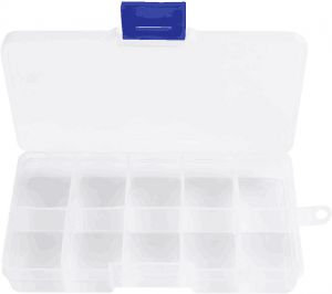 A plastic organizer box to store medicine and jewelry 10 boxes