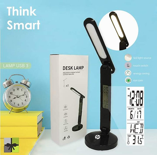 LED desk lamp with time, date and temperature setting