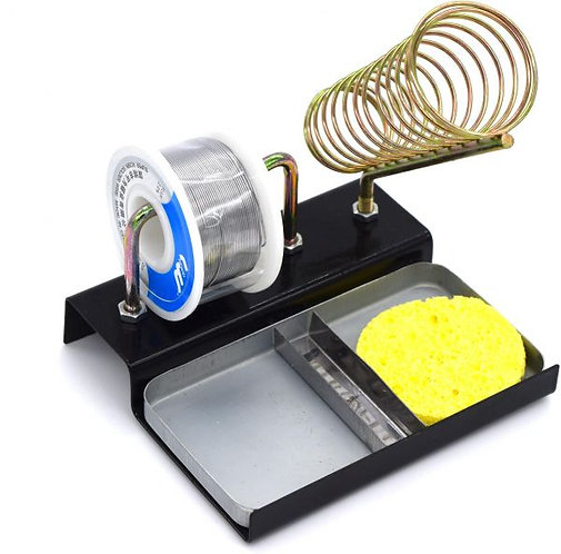 A tin solder base integrated with a cleaning sponge and tin roller
