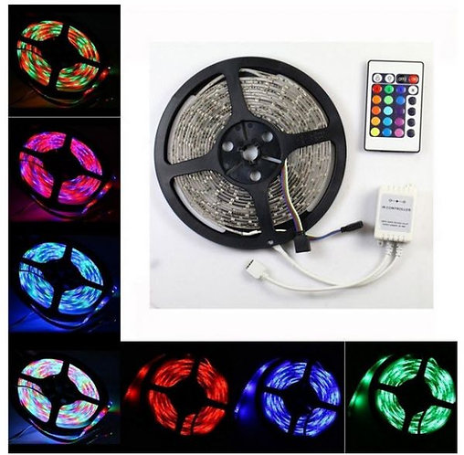 Illuminated LED strip, 24 colors with IR controller, waterproof, 60 LED per meter