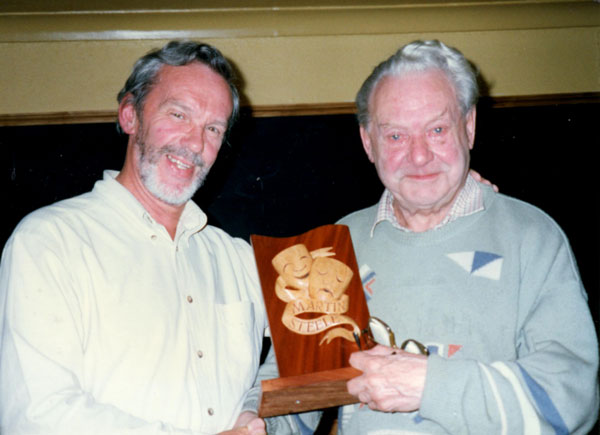 Derek Suttle, right, first ever recipient of the Martin Steele Award, receiving it from then chair David Brown, left.