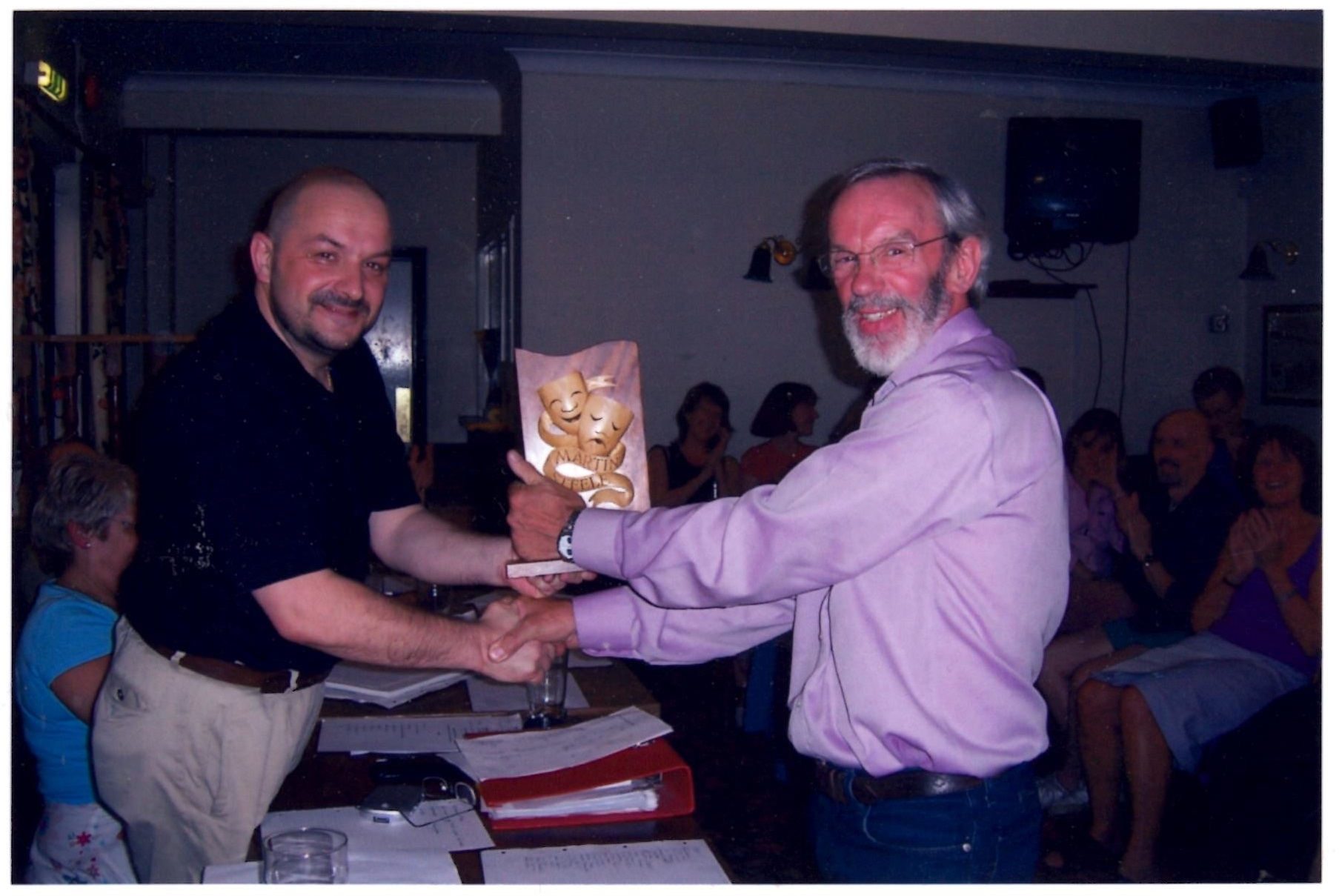 David Brown, right, receiving the Martin Steele Award himself from then chair Paul Garner