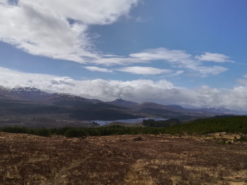 The snow topped hills are actually from our previous trip to Loch Nessin April 2018