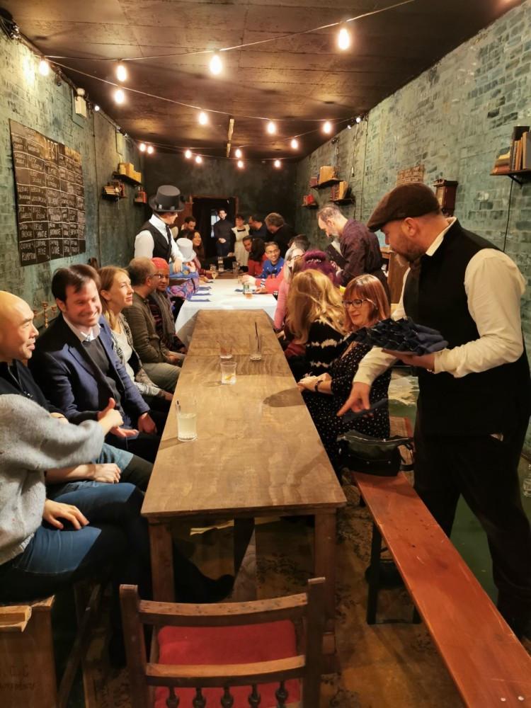 Communal dining at A Christmas Carol