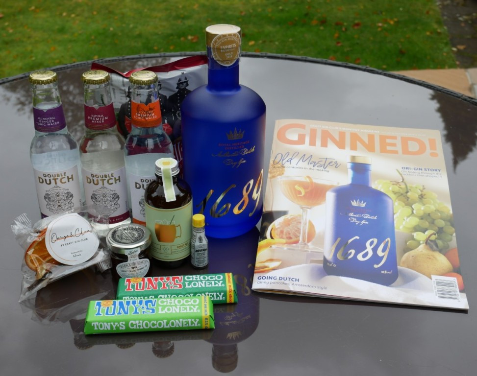 The contents of the October box from Craft Gin Club
