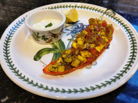 Romano peppers stuffed with spiced paneer