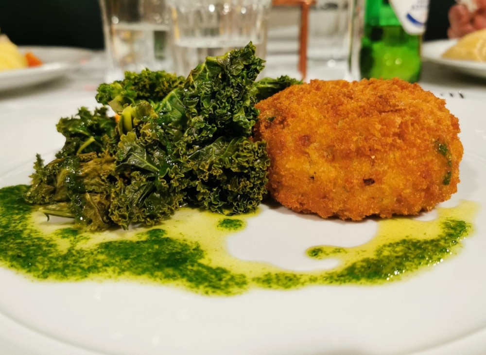 Fishcake with kale