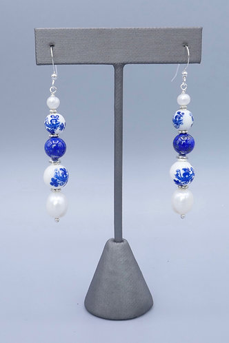 Delft Blue & White Chinese Ceramic & Pearl Earrings