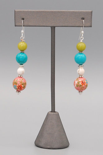Coral Bouquet Beads with Jade & Turquoise Earrings