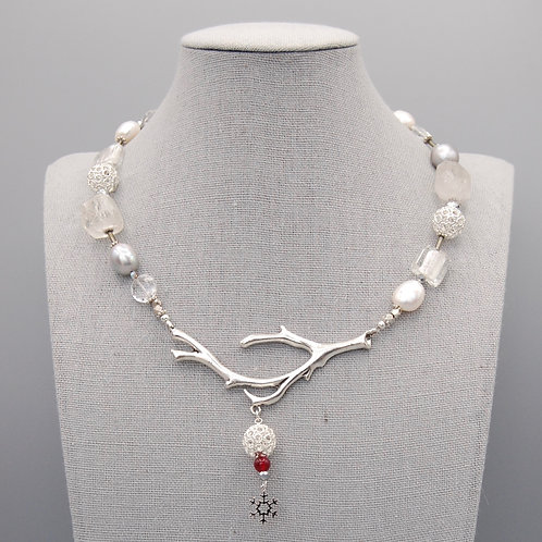 Winter Whites Necklace with Snowflake Charm
