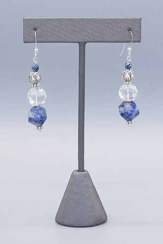 Silver Lotus Blue Earrings