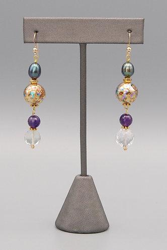 Gold Arabesque & Amethyst Earrings