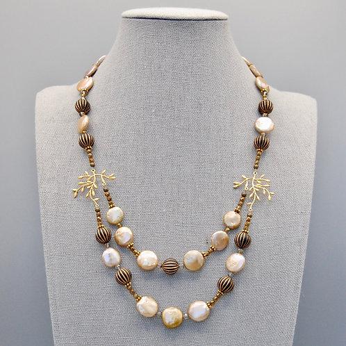Golden Moonlit Branches Pendant Necklace