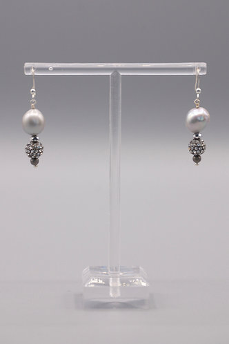 Gray Pearl and Pave Earrings
