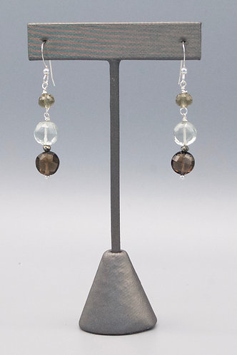 Smokey quartz with Pale Green Amethyst Earrings