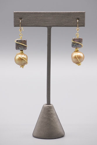 Golden & Mauve Pearl Wrapped Earrings
