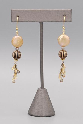 Golden Pearl Tassel Earrings