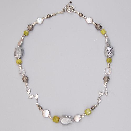 Silver Quartz & Green Opal Necklace